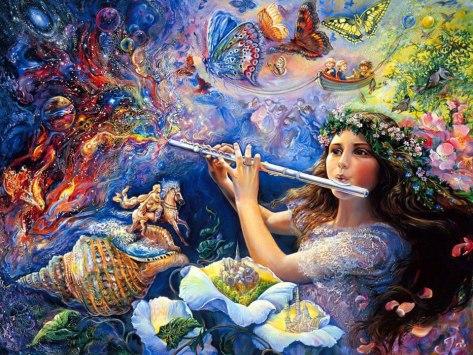 a mais linda com menina tocando flauta