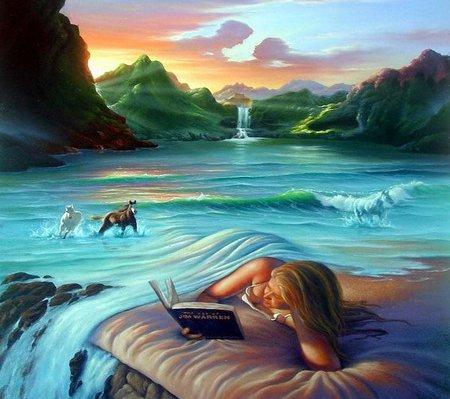 lendo livro embaixo da coberta de cachoeira