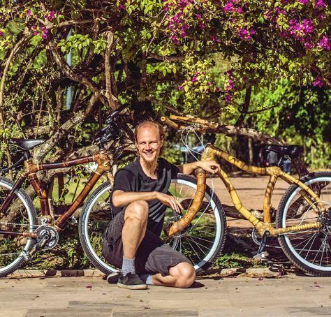 Bamboo bike Builder, Klaus Volkmann and two bikes from ArtBikeBamboo.
