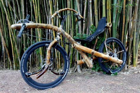 Recumbent bamboo bike, hand made.