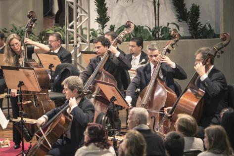 Contrabaixos durante concerto de violoncelo